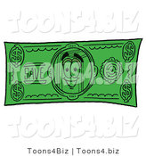 Illustration of a Book Mascot on a Dollar Bill by Toons4Biz