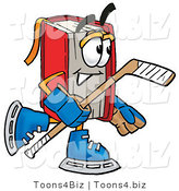 Illustration of a Book Mascot Playing Ice Hockey by Toons4Biz