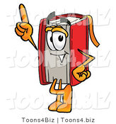 Illustration of a Book Mascot Pointing Upwards by Toons4Biz