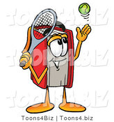 Illustration of a Book Mascot Preparing to Hit a Tennis Ball by Toons4Biz