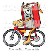 Illustration of a Book Mascot Riding a Bicycle by Toons4Biz