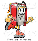 Illustration of a Book Mascot Roller Blading on Inline Skates by Toons4Biz