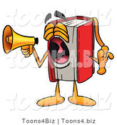 Illustration of a Book Mascot Screaming into a Megaphone by Toons4Biz