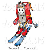 Illustration of a Book Mascot Skiing Downhill by Toons4Biz