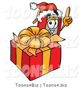 Illustration of a Book Mascot Standing by a Christmas Present by Toons4Biz