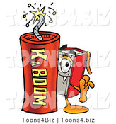 Illustration of a Book Mascot Standing with a Lit Stick of Dynamite by Toons4Biz