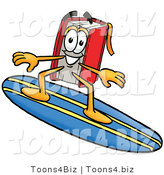 Illustration of a Book Mascot Surfing on a Blue and Yellow Surfboard by Toons4Biz