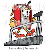 Illustration of a Book Mascot Walking on a Treadmill in a Fitness Gym by Toons4Biz