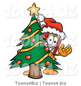 Illustration of a Book Mascot Waving and Standing by a Decorated Christmas Tree by Toons4Biz
