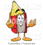 Illustration of a Book Mascot Wearing a Birthday Party Hat by Toons4Biz