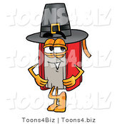 Illustration of a Book Mascot Wearing a Pilgrim Hat on Thanksgiving by Toons4Biz