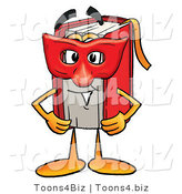 Illustration of a Book Mascot Wearing a Red Mask over His Face by Toons4Biz