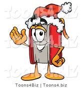 Illustration of a Book Mascot Wearing a Santa Hat and Waving by Toons4Biz