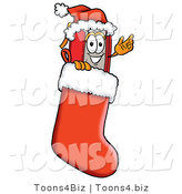 Illustration of a Book Mascot Wearing a Santa Hat Inside a Red Christmas Stocking by Toons4Biz