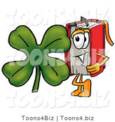 Illustration of a Book Mascot with a Green Four Leaf Clover on St Paddy's or St Patricks Day by Toons4Biz