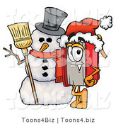 Illustration of a Book Mascot with a Snowman on Christmas by Toons4Biz