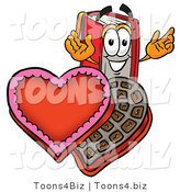 Illustration of a Book Mascot with an Open Box of Valentines Day Chocolate Candies by Toons4Biz