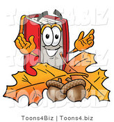 Illustration of a Book Mascot with Autumn Leaves and Acorns in the Fall by Toons4Biz