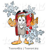 Illustration of a Book Mascot with Three Snowflakes in Winter by Toons4Biz