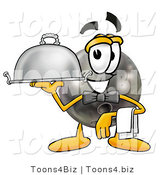 Illustration of a Bowling Ball Mascot Dressed As a Waiter and Holding a Serving Platter by Toons4Biz