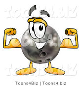 Illustration of a Bowling Ball Mascot Flexing His Arm Muscles by Toons4Biz