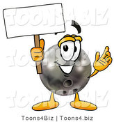 Illustration of a Bowling Ball Mascot Holding a Blank Sign by Toons4Biz