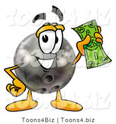 Illustration of a Bowling Ball Mascot Holding a Dollar Bill by Toons4Biz