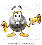 Illustration of a Bowling Ball Mascot Holding a Megaphone by Toons4Biz