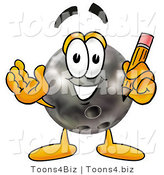 Illustration of a Bowling Ball Mascot Holding a Pencil by Toons4Biz