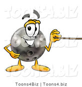 Illustration of a Bowling Ball Mascot Holding a Pointer Stick by Toons4Biz