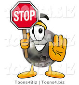 Illustration of a Bowling Ball Mascot Holding a Stop Sign by Toons4Biz