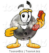 Illustration of a Bowling Ball Mascot Holding a Telephone by Toons4Biz