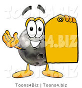 Illustration of a Bowling Ball Mascot Holding a Yellow Sales Price Tag by Toons4Biz