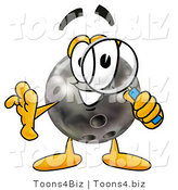 Illustration of a Bowling Ball Mascot Looking Through a Magnifying Glass by Toons4Biz