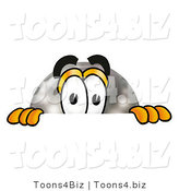 Illustration of a Bowling Ball Mascot Peeking over a Surface by Toons4Biz