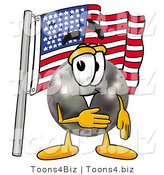 Illustration of a Bowling Ball Mascot Pledging Allegiance to an American Flag by Toons4Biz