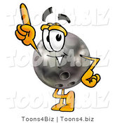 Illustration of a Bowling Ball Mascot Pointing Upwards by Toons4Biz