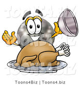 Illustration of a Bowling Ball Mascot Serving a Thanksgiving Turkey on a Platter by Toons4Biz