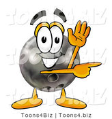 Illustration of a Bowling Ball Mascot Waving and Pointing by Toons4Biz