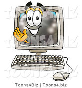 Illustration of a Bowling Ball Mascot Waving from Inside a Computer Screen by Toons4Biz