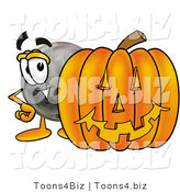 Illustration of a Bowling Ball Mascot with a Carved Halloween Pumpkin by Toons4Biz