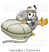 Illustration of a Bowling Ball Mascot with a Computer Mouse by Toons4Biz