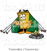 Illustration of a Cartoon Admission Ticket Mascot Camping with a Tent and Fire by Toons4Biz