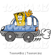 Illustration of a Cartoon Admission Ticket Mascot Driving a Blue Car and Waving by Toons4Biz
