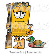 Illustration of a Cartoon Admission Ticket Mascot Duck Hunting, Standing with a Rifle and Duck by Toons4Biz