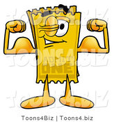Illustration of a Cartoon Admission Ticket Mascot Flexing His Arm Muscles by Toons4Biz