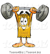 Illustration of a Cartoon Admission Ticket Mascot Holding a Heavy Barbell Above His Head by Toons4Biz