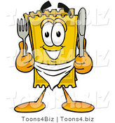 Illustration of a Cartoon Admission Ticket Mascot Holding a Knife and Fork by Toons4Biz
