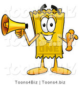 Illustration of a Cartoon Admission Ticket Mascot Holding a Megaphone by Toons4Biz
