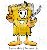 Illustration of a Cartoon Admission Ticket Mascot Holding a Pair of Scissors by Toons4Biz